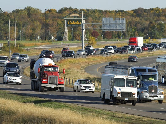 Afternoon commuter traffic approaches Rogers from the Twin Cities on Interstate Highway 94.