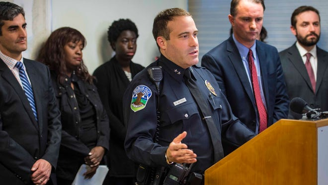 Burlington Police Chief Brandon del Pozo speaks during a news conference on Thursday, November 12, 2015, where Chittenden County State's Attorney T. J. Donovan announced that he would prosecute disorderly conduct and hate crime charges against William D. Schenk.  Authorities allege that Schenk targeted two Burlington women of color with Ku Klux Klan fliers at their homes.