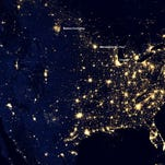 This annotated October 23, 2012 image provided January 28, 2013, shows lights in the US as seen from space.