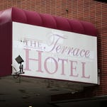 The Terrace Plaza building as seen from Sixth Street in downtown Cincinnati