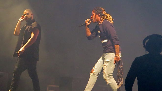 Rappers Drake, left, and Future perform at Austin City Limits festival in Austin on Saturday.