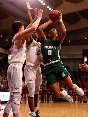 Parkview's Tyem Freeman flies to the basket against Joplin at the O'Reilly Family Event Center in Springfield on March 7, 2018.