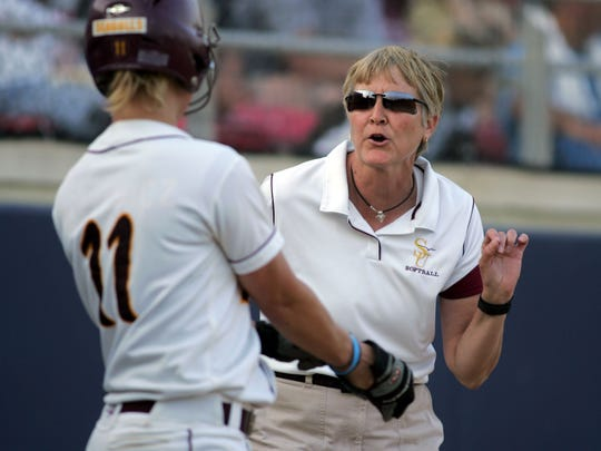 Salisbury University's Head Coach Margie Knight speaks to player Kelly Waskewicz before an at-bat against Coe College in their first-round game of the 2009 NCAA Division III Softball Championship.  Photo taken at Montclair State University in Montclair, NJ May 15, 2009. (Aaron Houston for the Salisbury Daily Times)