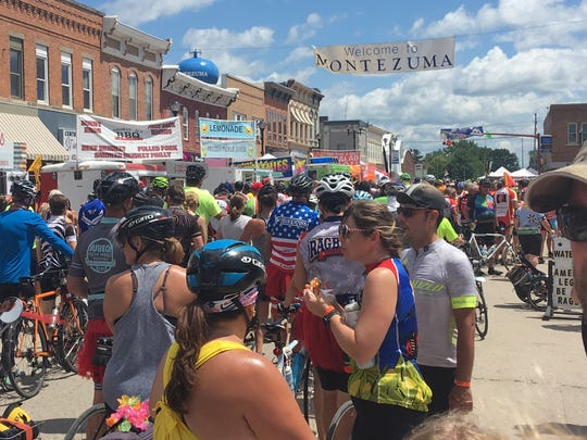 Downtown Montezuma is loading with RAGBRAI riders.