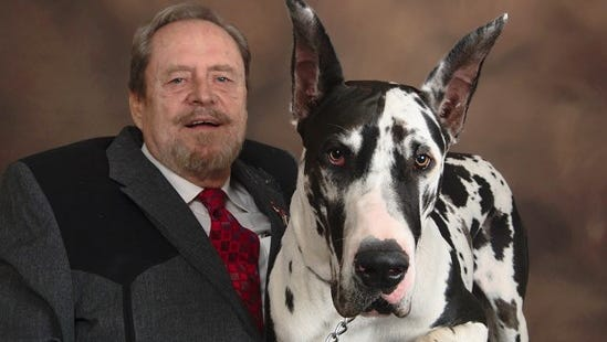 Republican David Pizer, left, of Mayer, has announced his candidacy for the U.S. Senate. He is with his dog, Little Woofy Jr.