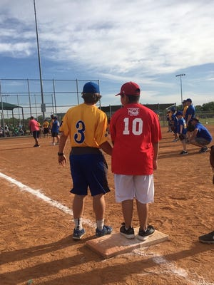 Players take part in the Challenger Baseball League at the Texas Bank Sports Complex. The season finale is Thursday night at the facility.