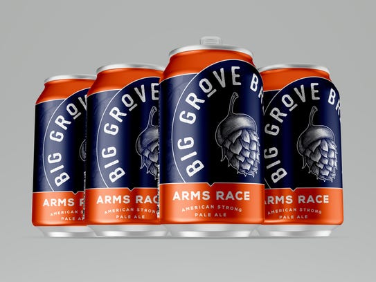 The design for a can of Big Grover Brewery's Arms Race