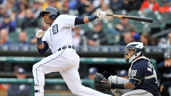 Tigers' Yoenis Cespedes doubles to lead off the second inning.