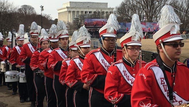 Everett Viking band members file out after the band performed as part of pre-inaugural ceremonies at the Lincoln Memorial in Washington D.C. Thursday Jan. 19, 2017.