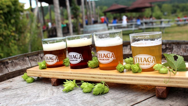 A flight from Ithaca Beer Company.