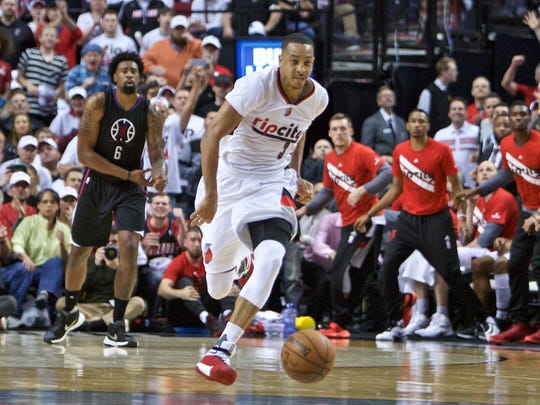 Portland Trail Blazers guard C.J. McCollum (3) leads a fast break against the Los Angeles Clippers during the second half of Game 3 of an NBA basketball first-round playoff series Saturday, April 23, 2016, in Portland, Ore. Portland won 96-88. (AP Photo/Craig Mitchelldyer)
