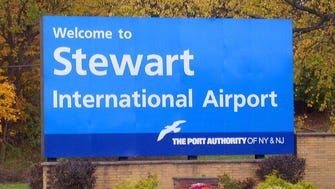 A sign welcomes travelers to the Stewart International Airport near Newburgh, N.Y.