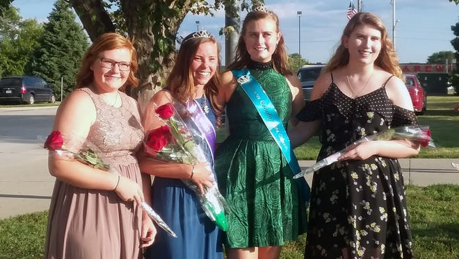 Kennady Moffit, pictured second from the left, was named the 2018 Warren County Fair Queen on July 21. Also pictured are queen candidate Lindsey Meyers, 2017 Warren County Fair Queen Haley Hart and queen candidate Kathlyn Wagner.