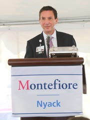Dr. Mark Geller, President of Montefiore Nyack Hospital offers remarks during a press conference at Montefiore Nyack Hospital in Nyack on Thursday, June 14, 2018.