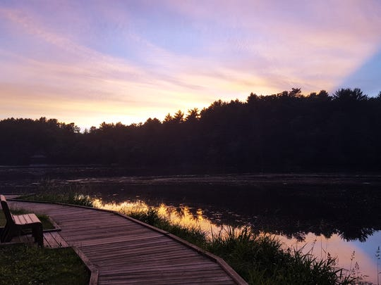 The sun sets over Mirror Lake outside Wisconsin Dells.