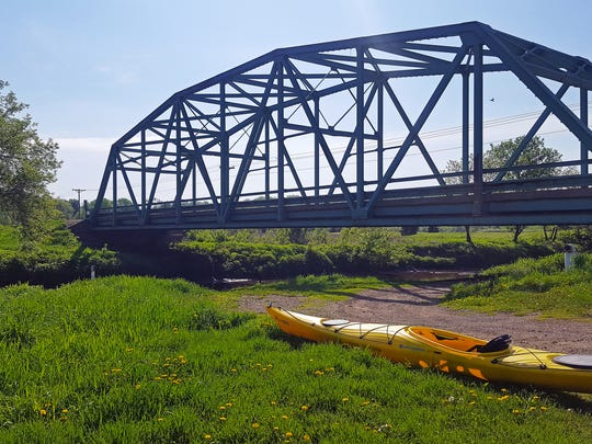 A boat launch provides a spot for starting a kayak trip along the Pecatonica River north of Darlington.