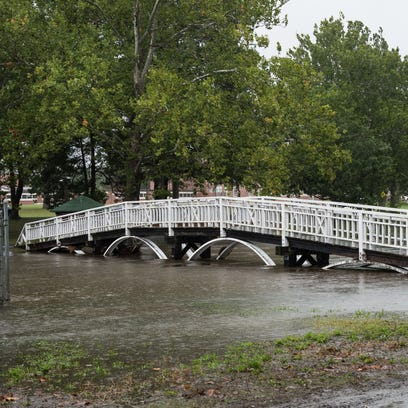 A view of the bridge at Salisbury City Park with higher