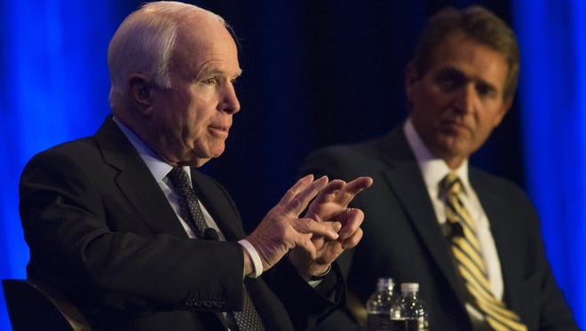 U.S. Sen. John McCain, R-Ariz. (left), and U.S. Sen. Jeff Flake, R-Ariz.