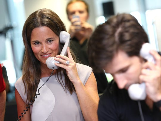 Pippa Middleton making a trade at BGC Annual Global Charity Day at Canary Wharf on Sept.12, 2016 in London.