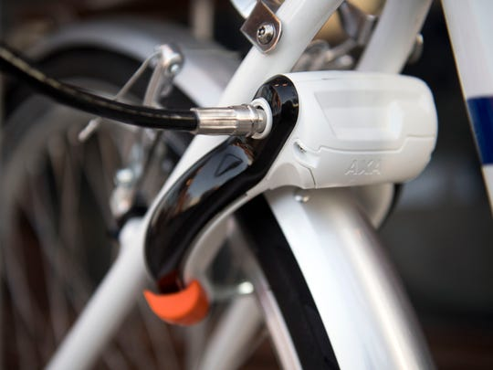 The Pace bicycles are locked and unlocked by a bluetooth-enabled mechanism installed on the wheel of the bicycle.