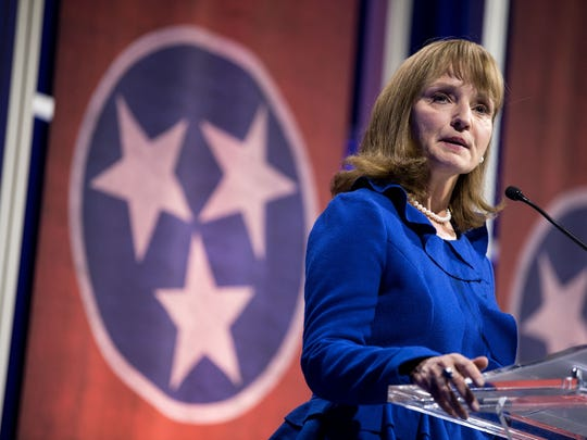 Beth Harwell speaks during a gubernatorial forum in Nashville on Jan. 23. Harwell held the House District 56 seat for 30 years before leaving the Tennessee legislature to run for governor this year.
