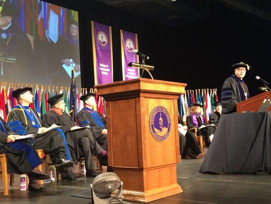 UWSP Chancellor Bernie Patterson speaks during 2014