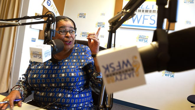 As a kid, she snuck into her grandparents' basement to listen to comedian Dick Gregory — and now, Fisk Jazzy 88 chief Sharon Kay has interviewed him four times Thursday Feb. 18, 2016, in Nashville, Tenn.