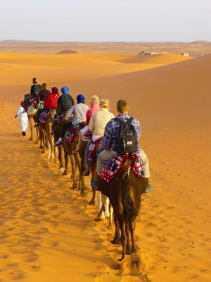 Travelers ride along on Intrepid Travel's Solo and Active Morocco tour. In 2008, the Australian company added adventure trips for single travelers — without a supplement fee — to its itinerary.