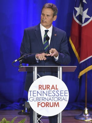Bill Lee answers questions during the Rural Tennessee gubernatorial forum April 17, 2018, at Lane College.