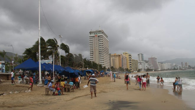 Acapulco was under a cloudy sky on Sunday caused by the tropical storm Raymond.