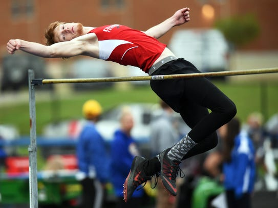 Crooksville's Teck Kirkpatrick clears the bar to win the high jump title at the 2017 Muskingum Valley League Track and Field Meet.