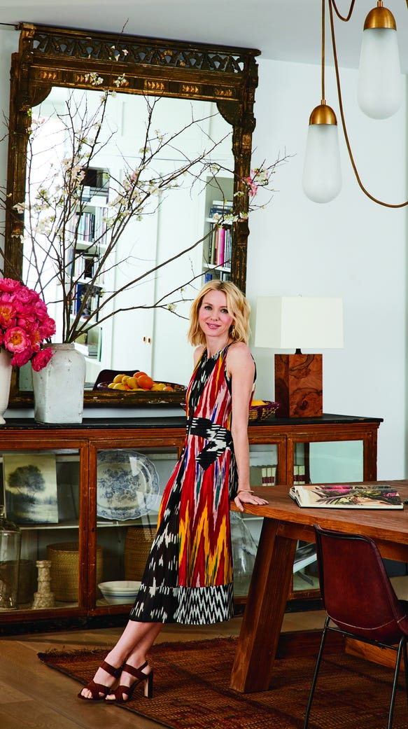 Naomi Watts in the dining room of her New York City