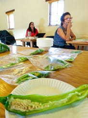 Various types of green chile are stored in plastic
