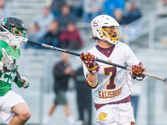 Salisbury long stick middie Andrew Ternahan (7) looks to pass against York College in the regular season Capital Athletic Conference finale on Wednesday at Sea Gull Stadium.