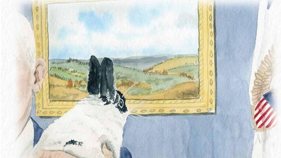 Vice presidential rabbit Marlon Bundo looks at a painting