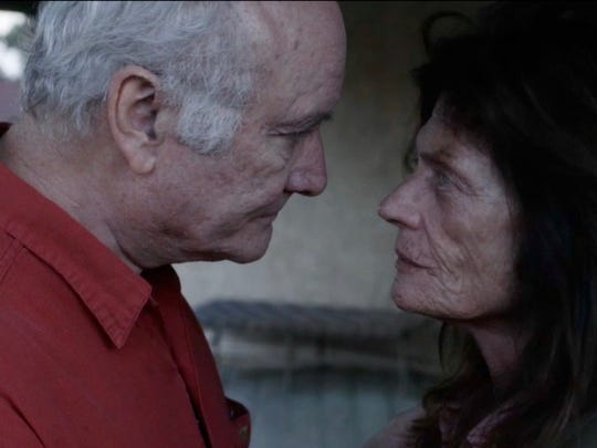 """Aiden, played by Edward James Hyland, talks with his wife Maggie, played by Meg Foster, on the ranch balcony in a scene from """"Three Days in August,"""" which was screened Friday in Simi Valley."""