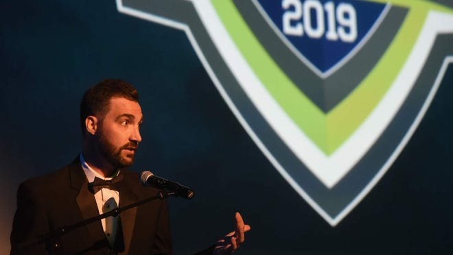 Seacoast Media Group sports editor Ryan O'Leary is seen during last year's Seacoast All-Star Sports Awards event at The Music Hall in Portsmouth. The 2020 event at 6 p.m. Thursday, June 18 will be an online show featuring major sports stars. It can be viewed at