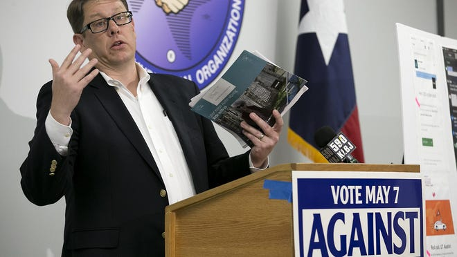 Mark Littlefield speaks at a 2016 event. Littlefield, a local political consultant, filed more than a dozen complaints against the anti-Prop A political action committee Our Mobility Our Future and the nonprofit Voices of Austin, alleging each failed to disclose donors as required under city law.