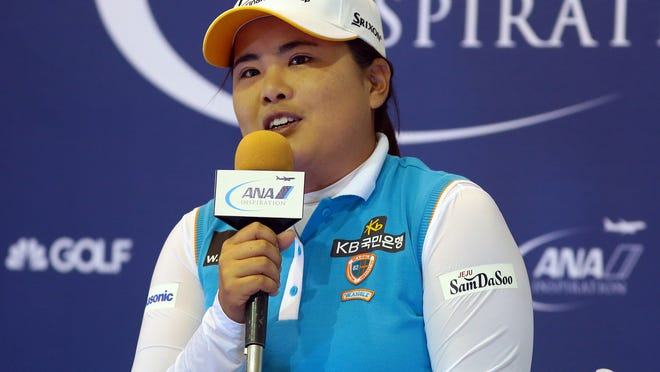 Current Rolex World Rankings No. 2 player Inbee Park talks about her quest to earn a career grand slam during a news conference at the ANA Inspiration on Wednesday at Mission Hills Country Club in Rancho Mirage. Park won the tournament in 2013.