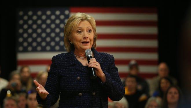 Presidential hopeful, Hillary Clinton speaks in a town hall event on Thursday, Jan. 21, 2016, in Vinton.