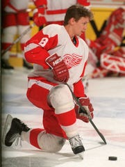 Detroit Red Wings Igor Larionov during the skate before the game against Winnipeg at Joe Louis Arena on April 12, 1996.