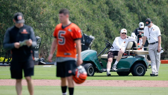 Cincinnati Bengals owner Mike Brown watches from the sidelines during the first day of OTAs at the Cincinnati Bengals practice facility in downtown Cincinnati on Tuesday, May 22, 2018.
