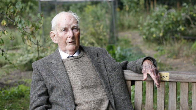 Peter Padfield sits in his garden in Woodbridge, Suffolk, England, Wednesday Sept. 9, 2020. In 1957 Padfield was a crew member on the sailing ship the Mayflower II, a replica of the square-rigged English merchant vessel that carried a group of dissatisfied Protestants across the Atlantic Ocean in 1620.