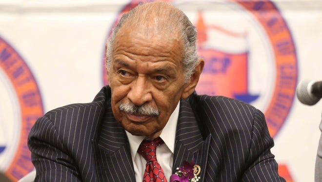 Congressman John Conyers Jr. answered questions from reporters before the 60th NAACP Fight for Freedom Fund Dinner on May 3, 2015 at the Cobo Center in Detroit.