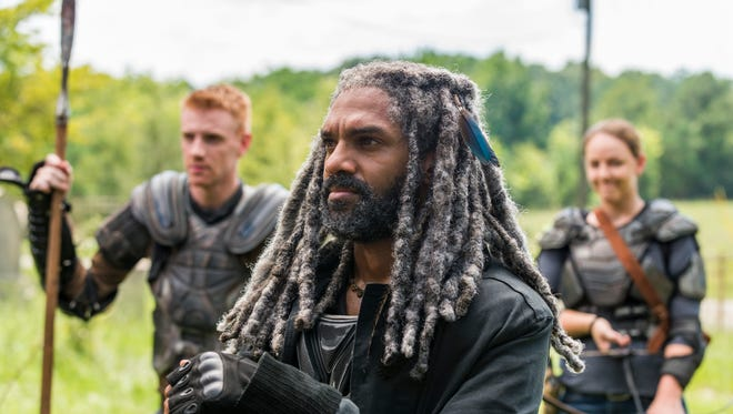 Khary Payton as Ezekiel, Josh Mikel as Jared, Kerry Cahill as Dianneare in this season of 'The Walking Dead.'