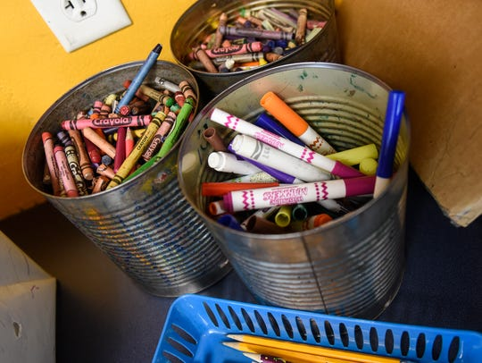 Art supplies are stored in the learning center Friday,