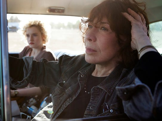 Lily Tomlin (front) and Julia Garner in 'Grandma.'
