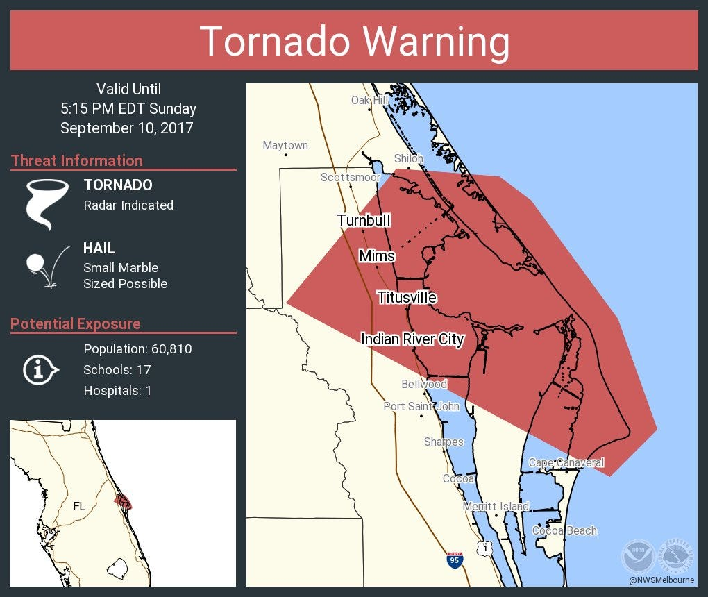 Tornado warning cocoa fl