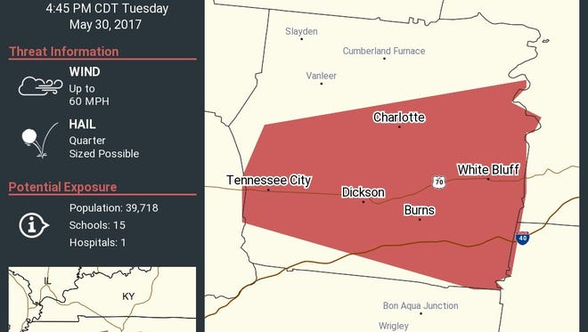 The National Weather Service has issued a severe thunderstorm warning for Dickson County May 30, 2017, until 4:45 p.m.