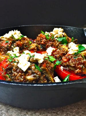 Peppers Stuffed With Quinoa and Vegetables make a great meatless meal or a fabulous side dish.